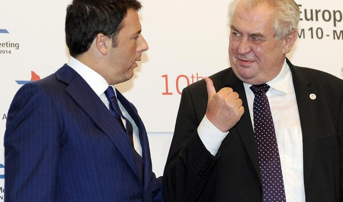 evropsko-asijský summit ASEM v Miláně: italský premiér Matteo Renzi a český prezident Miloš Zeman