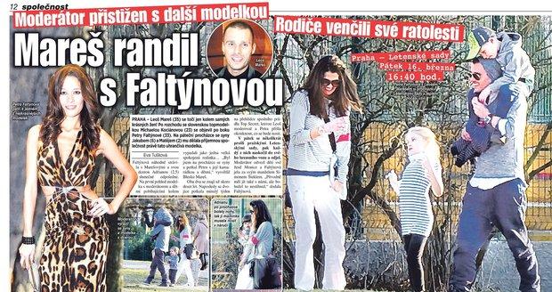 Před dvěma týdny Blesk zastihl Faltýnovou a Mareše na procházce s dětmi