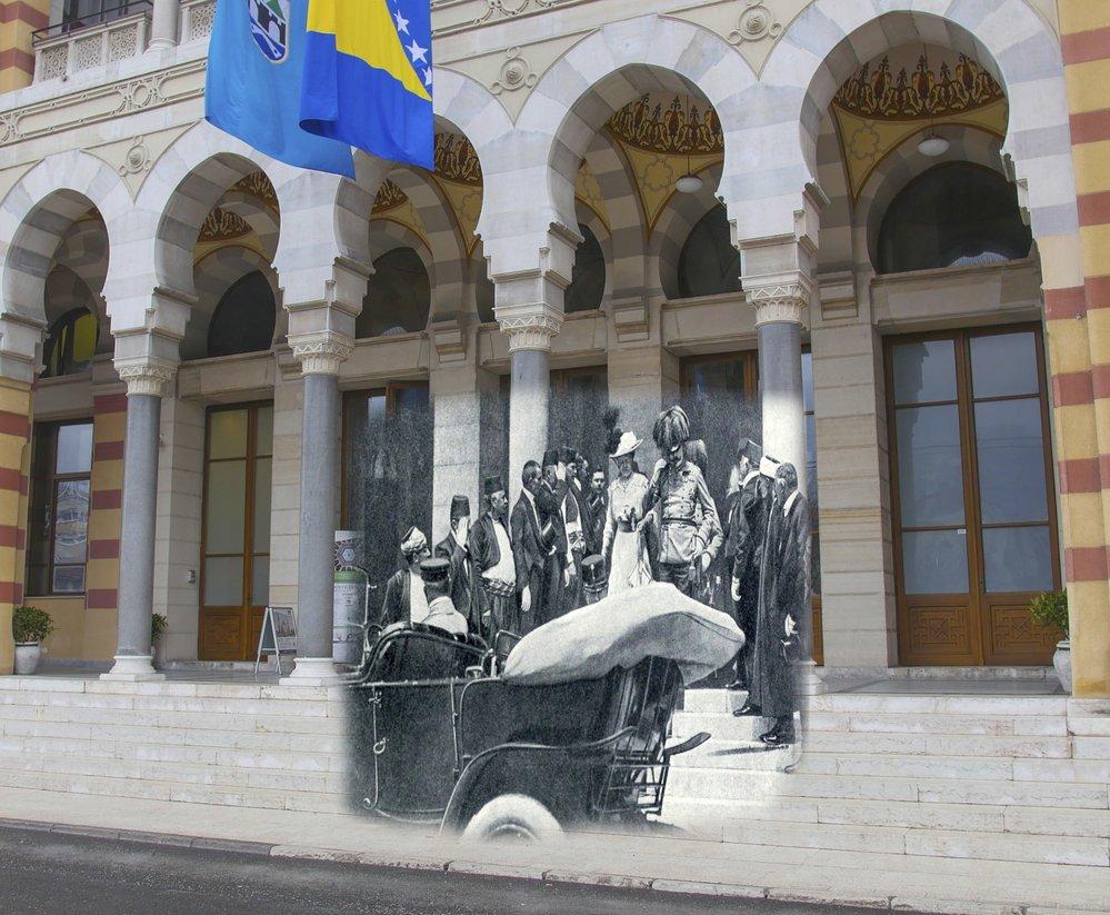 Odjezd arcivévody Ferdinanda ze sarajevské radnice