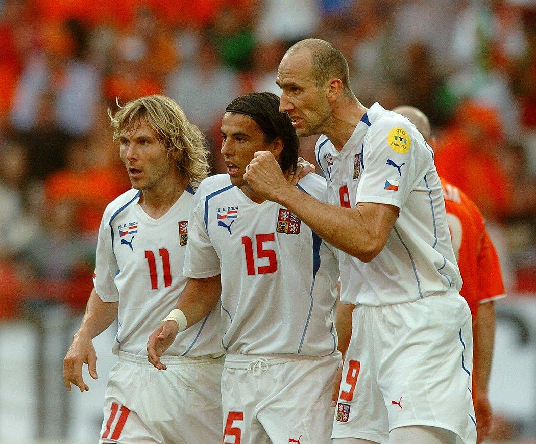 Pavel Nedvěd, Milan Baroš a Jan Koller na mistrovství Evropy 2004 v Portugalsku