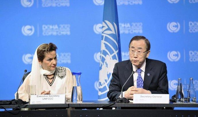 Generální tajemník OSN Pan Ki-mun a šéfka UNFCCC Christiana Figueres