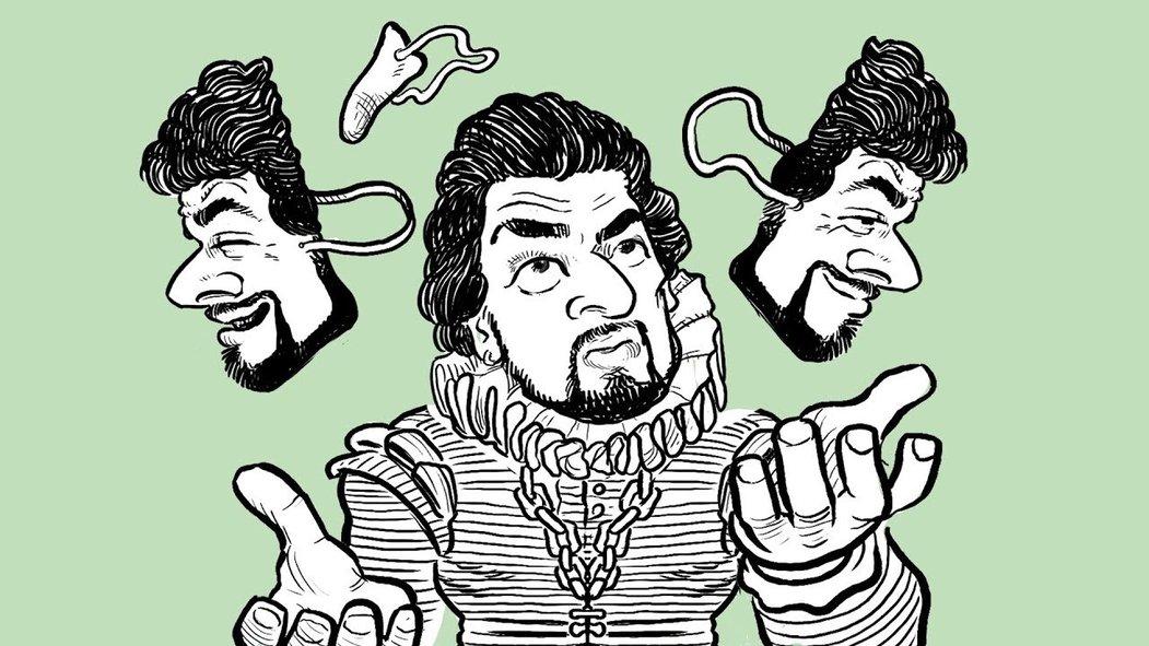 Sociolog Erving Goffman a jeho karikatura k rozhlasovým komentářům.