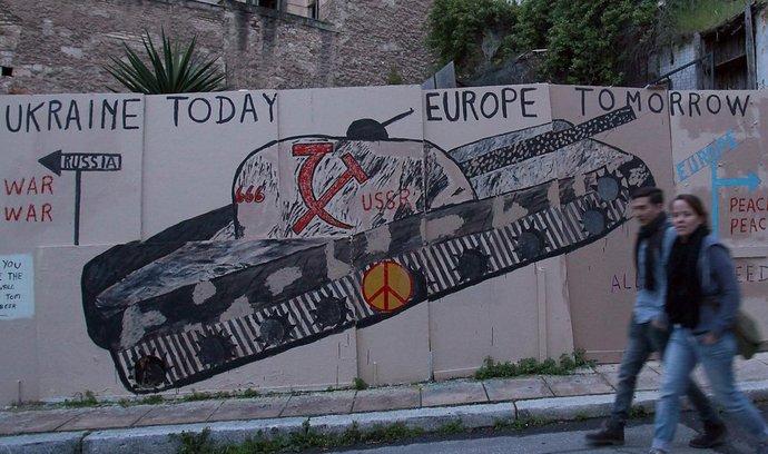 Graffiti v Aténách popisující situaci na Ukrajině