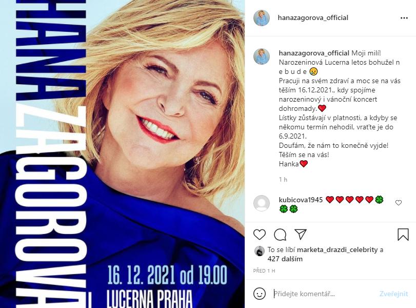 Hana Zagorová odkládá narozeninový koncert.