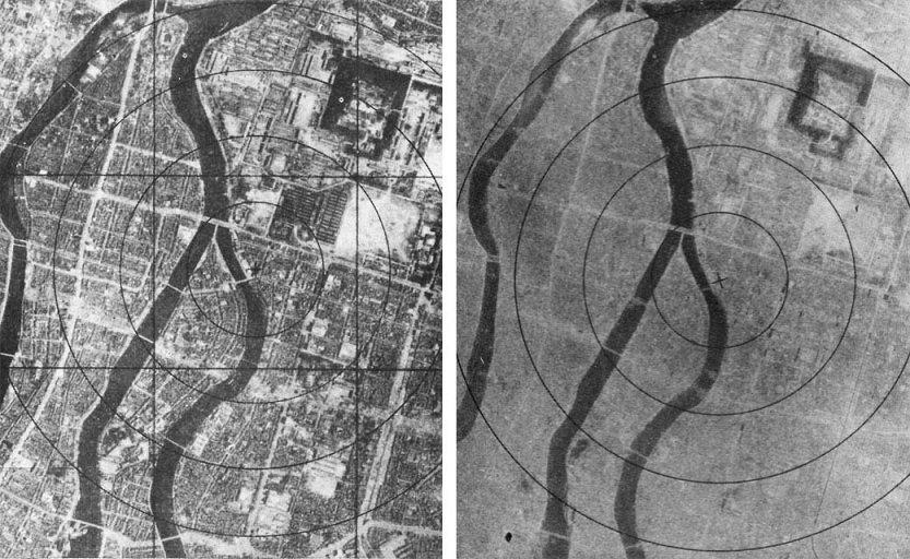 """6. srpna 1945: Hirošima před a po shození atomovém bomby známe jako """"Little Boy"""""""