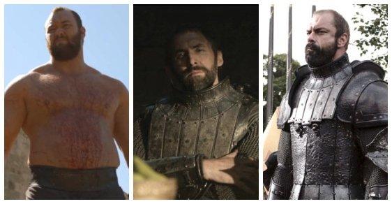 Gregor Clagane alias Hora. Postavu děsivě vyhlížejícího bojovníka ztvárnili tři herci: Conan Stevens (vpravo), Ian Whyte (uprostřed) a Hafþór Júlíus Björnsson.