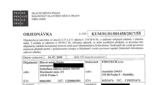 Objednávka kávovaru pro kancelář pražského primátora.