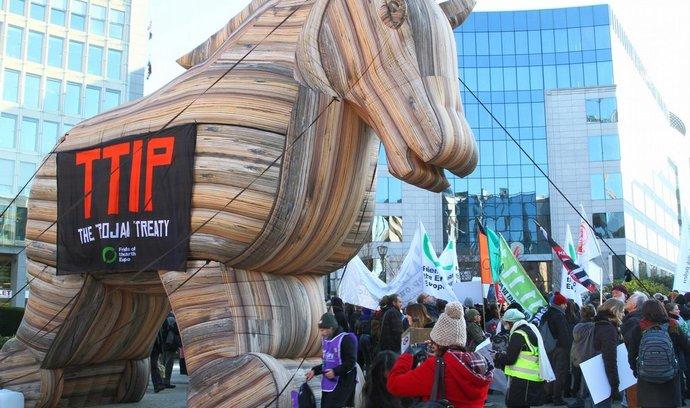 Ilustrační foto (protesty proti Transatlantické dohodě - na snímku zpodobnění trojského koně)