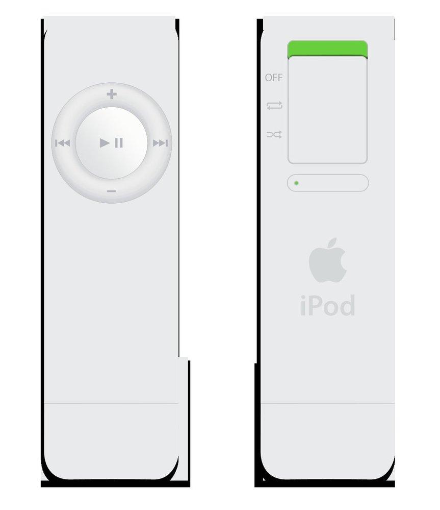 První verze iPod Shuffle. Neplést s ovladačem pro Nintendo Wii