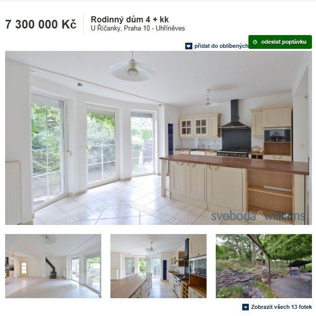 A takto vypadá nabídka na prodej Ivetina domu.