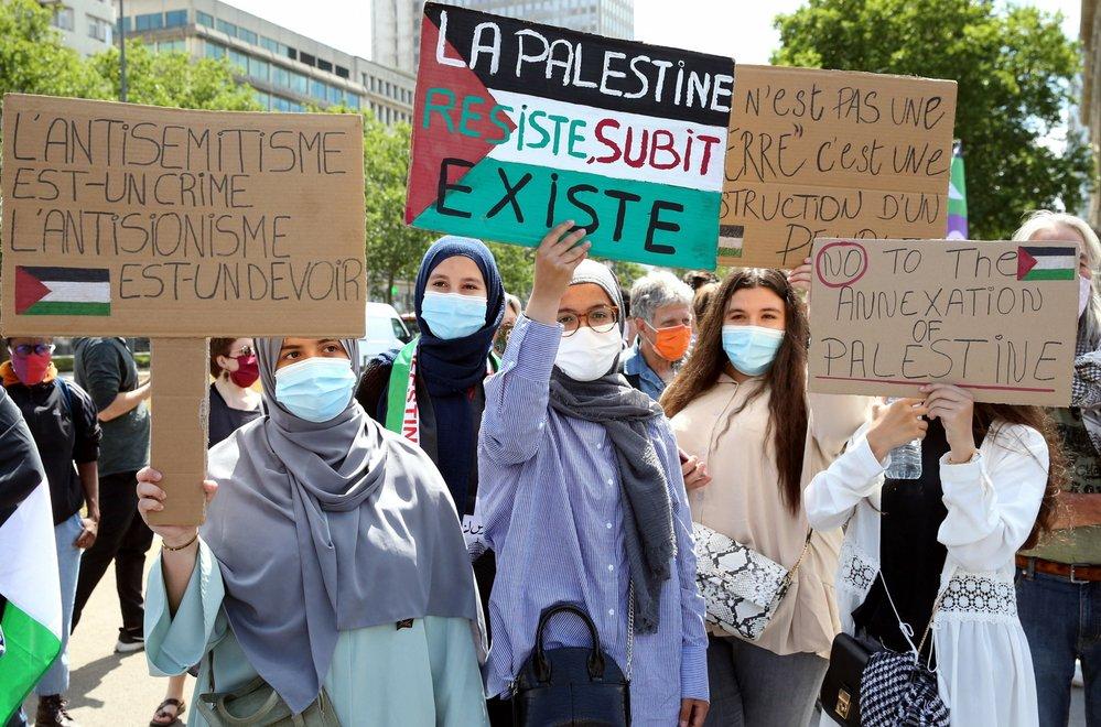 Protesty proti záměru Izraele anektovat palestinská území
