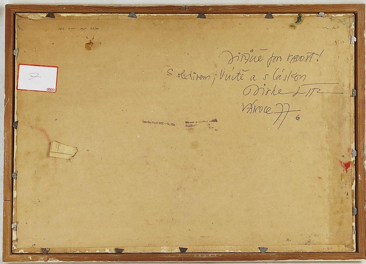 Jiří Lír napsal Jiřině Jiráskové na zadní stranu obrazu i věnování.