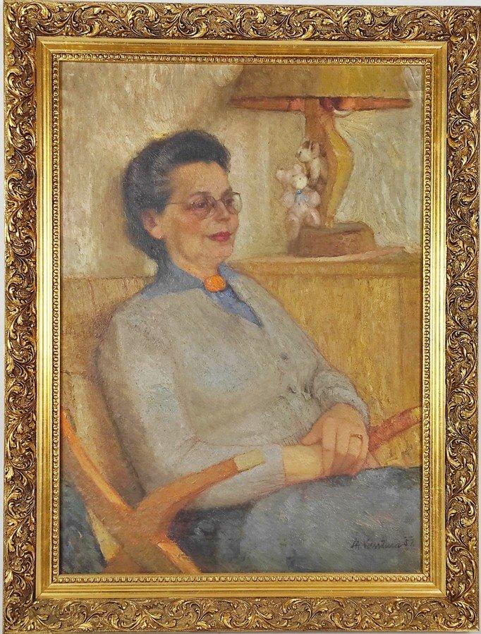 Obraz z dědictví Jiřiny Jiráskové: Dámou v křesle není nikdo jiný než hereččina maminka Antonie Jirásková.