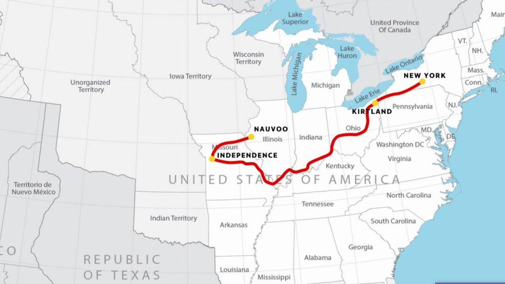 Církev byla založena ve státě New York, odsud je ale lidé prakticky vyhnali a tak se Smith s pobočníky přestěhovali do Ohia, později putují do Missouri a nakonec až do Illinois