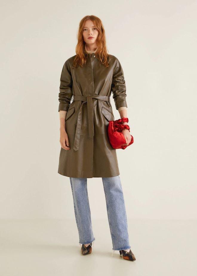 Kožený kabát, Mango, 6499 Kč