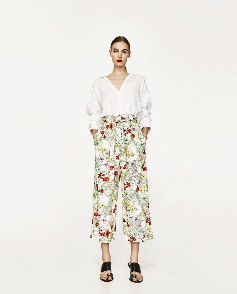 Kalhoty culottes s květinovým potiskem, Zara, 599 Kč
