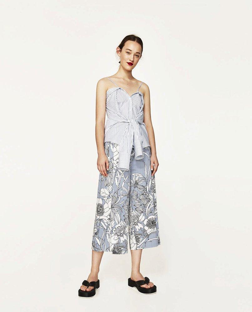 Kalhoty culottes s potiskem, Zara, 499 Kč
