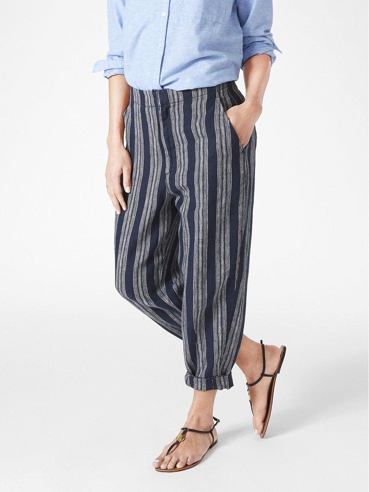 Lněné kalhoty s pruhy, Lindex, 999 Kč