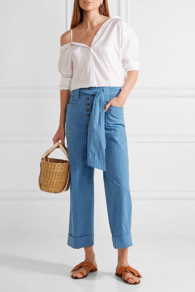 Modré kalhoty s vázání, Tory Burch, net-a-porter.com, €295
