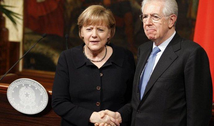 Kancléřka Merkelová a italský premiér Monti