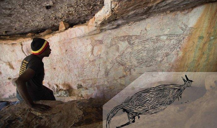Malba klokana byla objevena na pozemku domorodého kmene Unghango. V rohu snímku je zvýrazněn obrys zvířete.