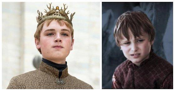"""Tommen Baratheon. Pochopitelné změny nastávaly u dětských rolí, kde tvůrci seriálu potřebovali """"rychlejší"""" stárnutí postav. Postavu Tommena Baratheona sehráli Cullum Whary (vpravo) a Dean-Charles Chapman"""