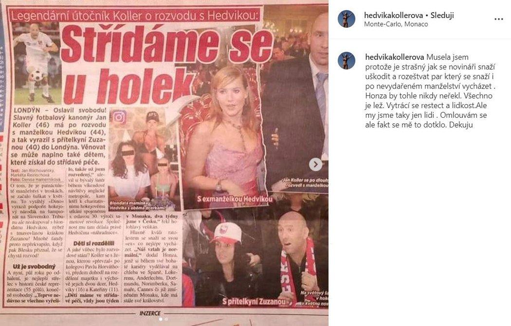 Hedvika Kollerová se na Istagramu ohradila proti tvrzení, které Blesku potvrdil sám její exmanžel Jan Koller