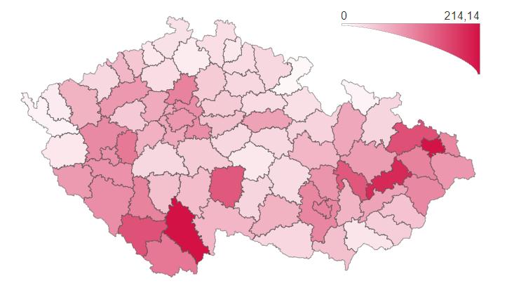 Přehled výskytu laboratorně prokázaného onemocnění covid-19 podle regionu (údaje k 16. 10. 2021, 10:00)