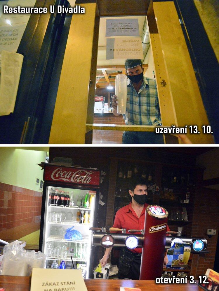 Zavírání a otevírání restaurace U Divadla v druhé vlně koronaviru v říjnu a prosinci 2020