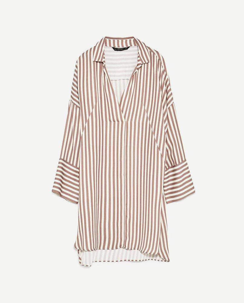 Košilová tunika s proužky, Zara, 899 Kč