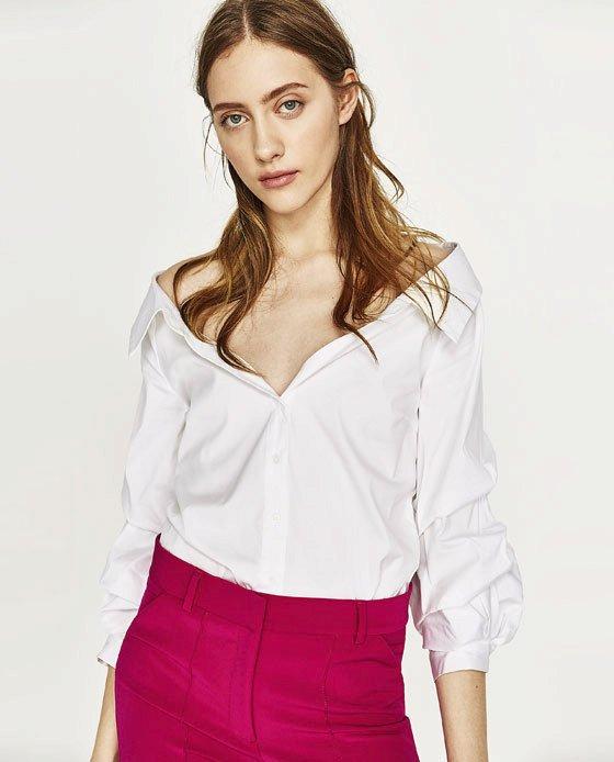 Košile s ozdobným výstřihem a objemným rukávem, Zara, 899 Kč
