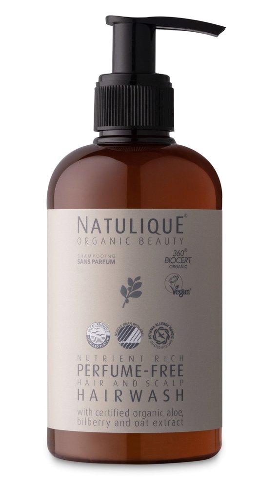 Jemný šampon bez parfemace Perfume – Hair and Scalp Hairwash, Natulique, happy-hair.cz, 890 Kč/250 ml