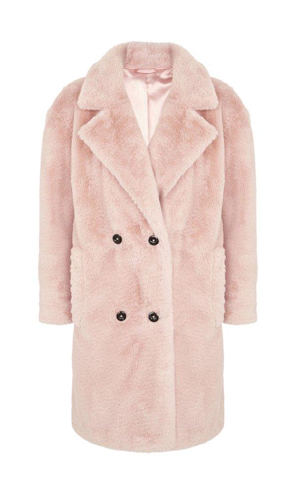 Růžový kožešinový kabát, Marks & Spencer, 3299 Kč