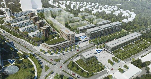 Vizualizace budoucího vzhledu veřejného prostoru u nemocnice v Krči