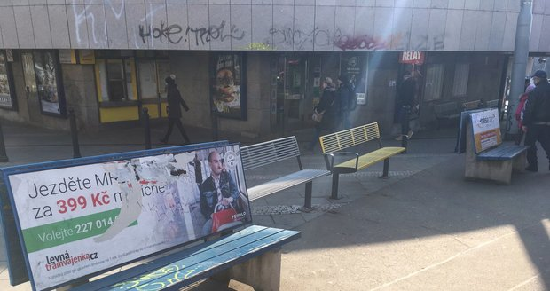 At the Strašnická metro there are 3 types of benches on 20 square meters.  Residents criticize them.