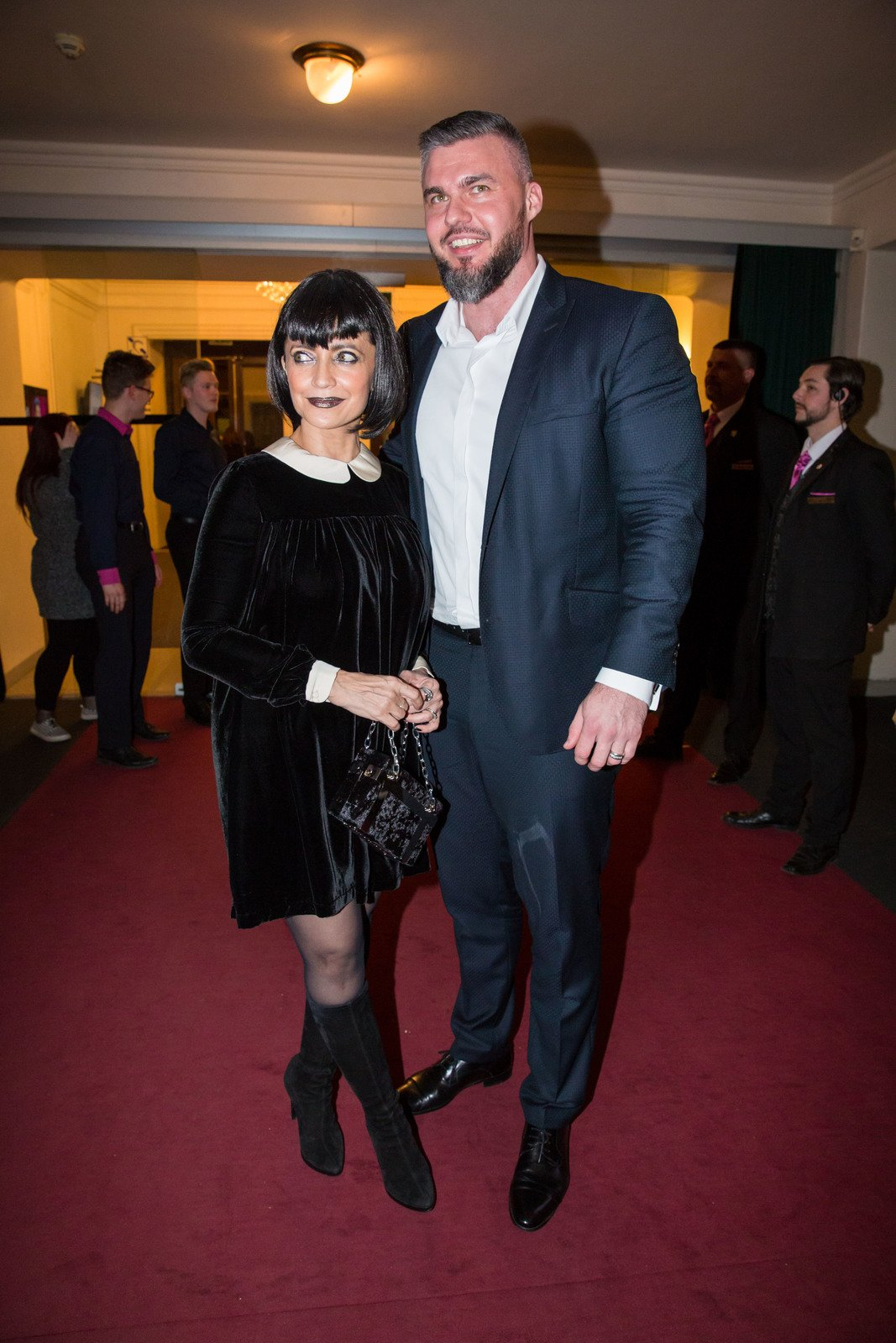 Lucie Bílá s partnerem Radkem Filipi na obnovené premiéře muzikálu The Addams Family.