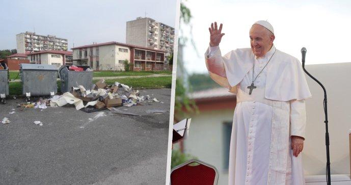 Sídliště Luník před příjezdem papeže vygruntovali. Dva dny poté už je zase zavalené odpadky