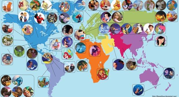Disney a Pixar cestují: Mapa jejich filmů