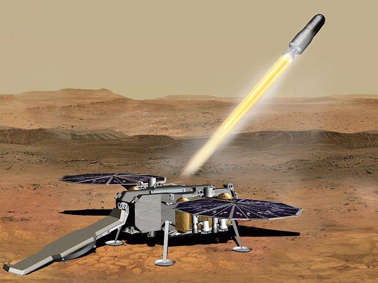 Mars 2020: Odlet nasbíraných vzorků na Zemi