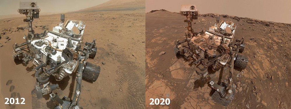 Rover Curiosity po přistání v roce 2012 a dnes