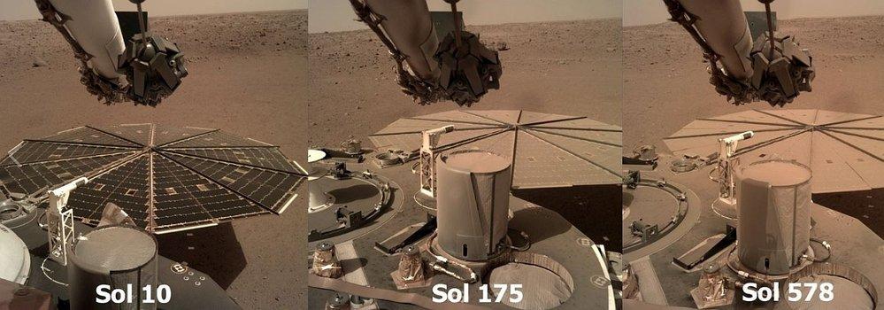 Zaprášené solární panely sondy InSight. Soly jsou dny na Marsu od přistání sondy