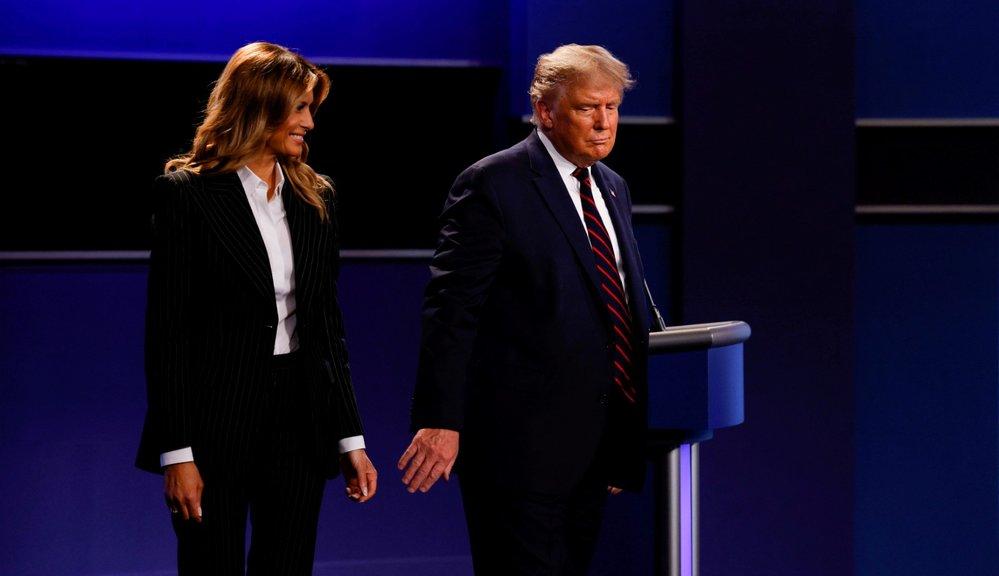 První debata kandidátů před americkými prezidentskými volbami: Americký prezident Donald Trump a jeho manželka první dáma Melanie Trumpova