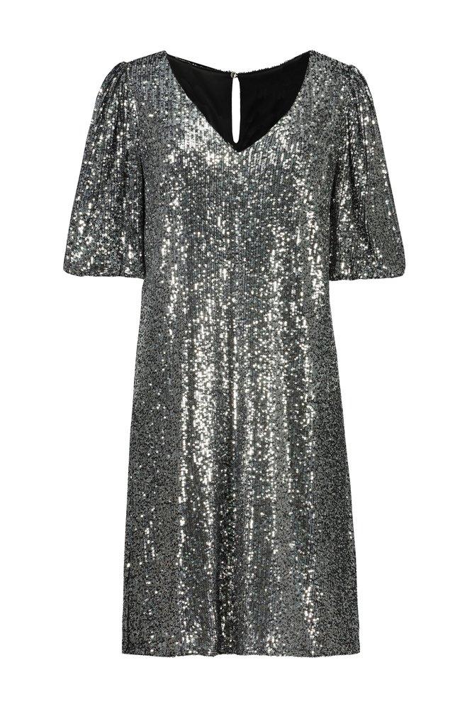 Stříbrné šaty s flitry, F&F, 599 Kč