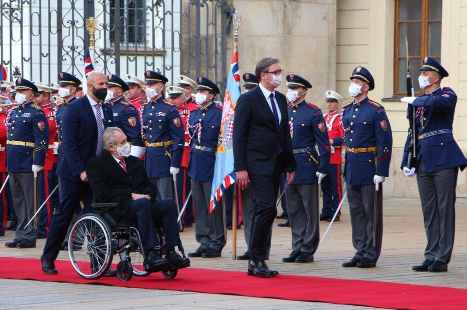 Návštěva srbského prezidenta Aleksandara Vučiče Pražském hradě.