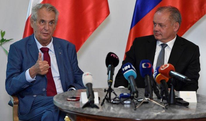 Český prezident Miloš Zeman (vlevo) a jeho slovenský protějšek Andrej Kiska