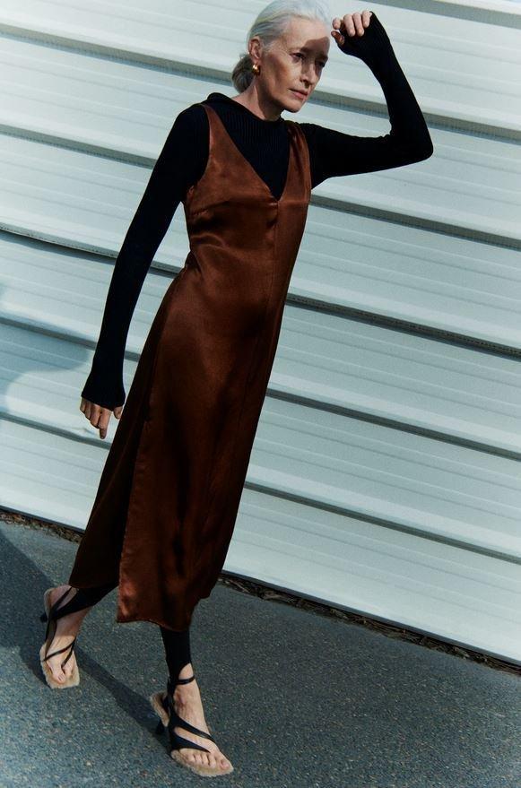 Saténové šaty, Zara, 1199 Kč