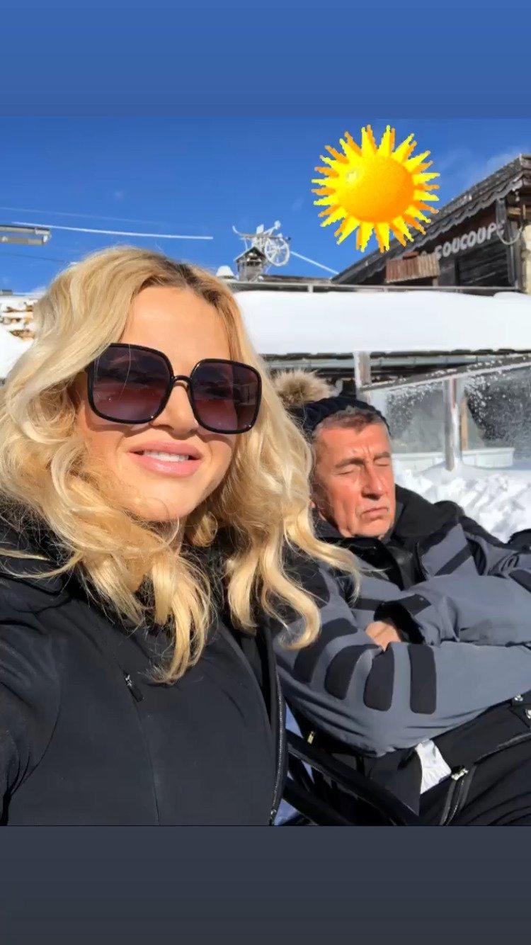 Monika Babišová a Andrej Babiš v Alpách