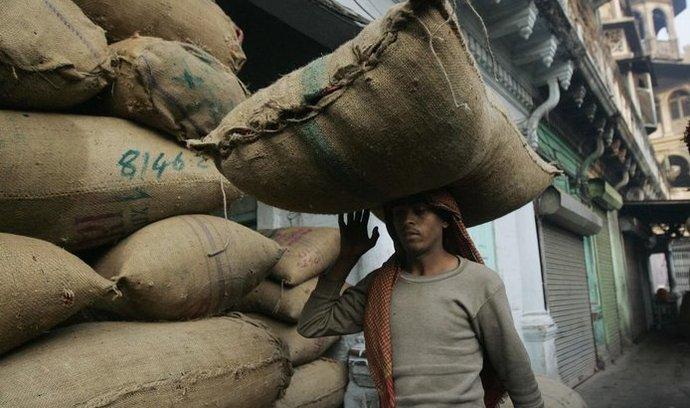 Muž na truv Dillí přenáší pytek s čilli