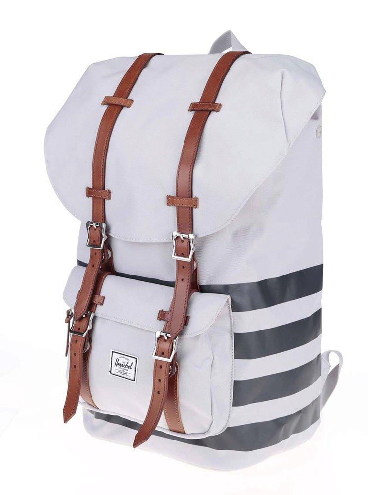 Černo-šedý batoh s hnědými popruhy, Herschel Little America, 3529 Kč Zoot.cz
