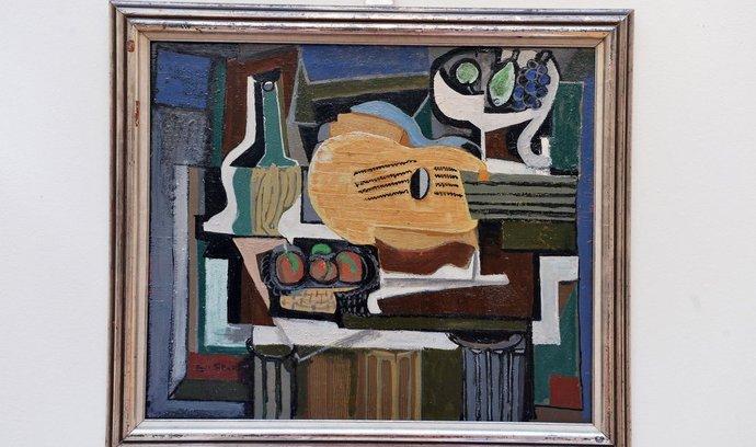 Nejdražší položkou, kterou nabídne v aukci 17. května společnost 1. Art Consulting, je obraz Emila Filly z roku 1924 Zátiší s lahví chianti vyvolávaný za 5,5 milionu (na snímku ze 7. května).
